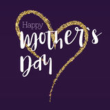 Happy Mother Day. Greeting Banner For Your Congratulations Cards. The Large Hand Drawing Heart With Gold Glitter. Ready Stock Images