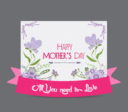 Happy mother day greeting card flower purple Royalty Free Stock Photos