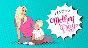Happy Mother Day Greeting Card, Mom Embrace Son Over Pop Art Retro Pin Up Background Stock Image