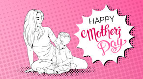 Happy Mother Day Greeting Card, Sketched Mom Embrace Son Over Pop Art Retro Pin Up Background Stock Photo
