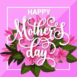 Happy Mother Day greeting card with spring flower. Bunch. Pink floral bouquet with blooming flower of azalea, green leaf branch and bud for Spring Season Stock Images