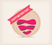 Happy mother day with heart and label Stock Photos