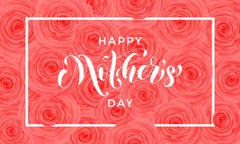 Happy Mother Day pink flowers pattern vector greeting card Stock Image