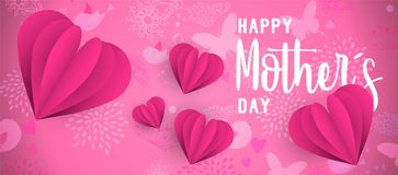Happy Mother Day pink paper cut heart web banner. Happy mothers day web banner illustration with paper art heart shape decoration and spring doodle background Royalty Free Stock Photography