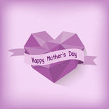Happy Mother day with purple origami heart Stock Photos