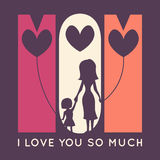 Happy Mother Day retro greeting card. Vector Stock Photos