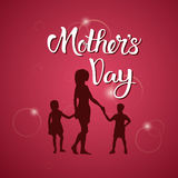 Happy Mother Day, Silhouette Mom Holding Children Hands, Spring Holiday Greeting Card Banner. Flat Vector Illustration Stock Photos