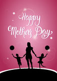 Happy Mother Day, Silhouette Mom Holding Children Hands, Spring Holiday Greeting Card Banner. Flat Vector Illustration Royalty Free Stock Images