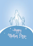 Happy Mother Day, Silhouette Mom Holding Children Hands, Spring Holiday Greeting Card Banner. Flat Vector Illustration Stock Photography