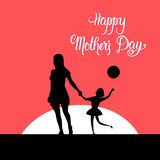 Happy Mother Day, Silhouette Mom Holding Children Hands, Spring Holiday Greeting Card Banner. Flat Vector Illustration Royalty Free Stock Image