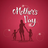 Happy Mother Day, Silhouette Mom Holding Children Hands, Spring Holiday Greeting Card Banner. Flat Vector Illustration Stock Images