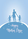 Happy Mother Day, Silhouette Mom Holding Children Hands, Spring Holiday Greeting Card Banner. Flat Vector Illustration Royalty Free Stock Photo