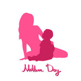 Happy Mother Day, Silhouette Woman Sit Embracing Child Stock Photos