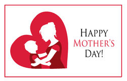 Happy Mother Day!. Silhouettes mother and child on the background of the heart Royalty Free Stock Images