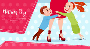 Happy Mother Day, Son And Daughter Embracing Mom, Spring Holiday Greeting Card Banner. Flat Vector Illustration Stock Photo