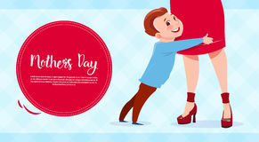 Happy Mother Day, Son Embracing Mom, Spring Holiday Greeting Card Banner Stock Images