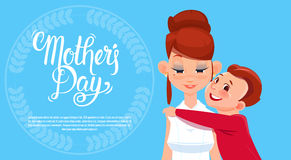 Happy Mother Day, Son Embracing Mom, Spring Holiday Greeting Card Banner Royalty Free Stock Photos