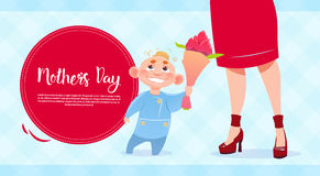 Happy Mother Day, Son Giving Mom Flowers, Spring Holiday Greeting Card Banner Stock Photography
