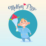 Happy Mother Day, Son Hold Flowers, Spring Holiday Greeting Card Banner Stock Photos