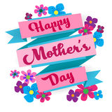 Happy Mother Day, Spring Holiday Greeting Card Banner. Flat Vector Illustration Stock Photos