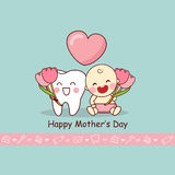 Happy Mother Day with teeth. Happy Mother Day with cartoon teeth and baby, great for dental care concept Stock Images