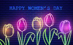 Happy Mother day tulip flowers neon light Vector. Vintage board. Glowing bouquet. Shiny Neon Light Poster, Flyer, Banner, Postcard. Invitation. Vector 3d stock photo