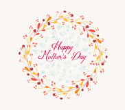 Happy mother day with wreath floral. Happy mother day greeting card with flower Stock Photos