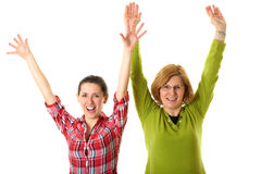 Happy mother and doughter, celebrate something Stock Image