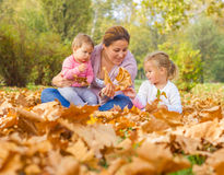 Happy Mother Enjoyment Beautiful Autumn Day Stock Images