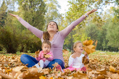 Happy Mother Enjoyment Beautiful Autumn Day Stock Photos