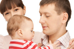 Happy mother and father with adorable baby Royalty Free Stock Image