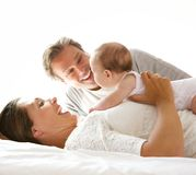 Happy mother and father with newborn child Royalty Free Stock Photography