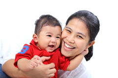 Happy mother and happy boy. Happiness of a mother and a baby (on white background Royalty Free Stock Photos