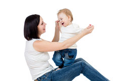 Happy mother having fun with her baby boy Royalty Free Stock Image