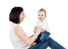 Happy mother having fun with her baby boy Royalty Free Stock Photos