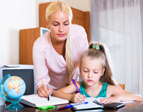 Happy mother helping little daughter Stock Image