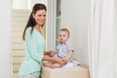Happy mother with her baby boy Royalty Free Stock Image