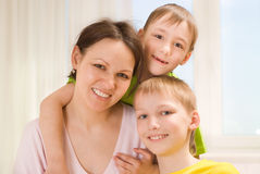 Happy mother and her  children Royalty Free Stock Image
