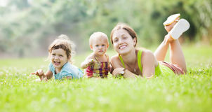 Happy mother and her children Stock Photos