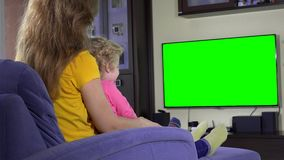 Happy mother with her cute daughter girl watching tv funny cartoons on sofa