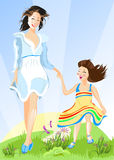 Happy mother with her daughter. Walking Stock Images