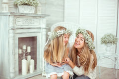 A happy mother and her daughter are having fun Royalty Free Stock Photos
