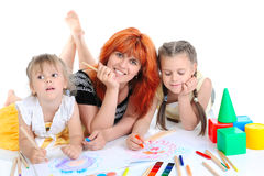 Happy mother with her daughters. Stock Photo