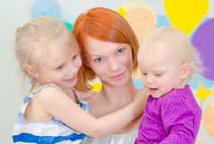 Happy mother with her daughters. Royalty Free Stock Photos