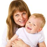 Happy mother with her litle son over white Stock Photo