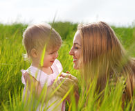 Happy mother and her little daughter Royalty Free Stock Photos