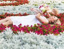 Happy mother and her little daughter in the summer Royalty Free Stock Image