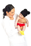 Happy mother holding baby in mouse costume Royalty Free Stock Image