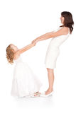 Happy mother holding hands his daughter Royalty Free Stock Image