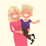 Happy mother holding his son. Vector illustration. Of a flat design Stock Photo